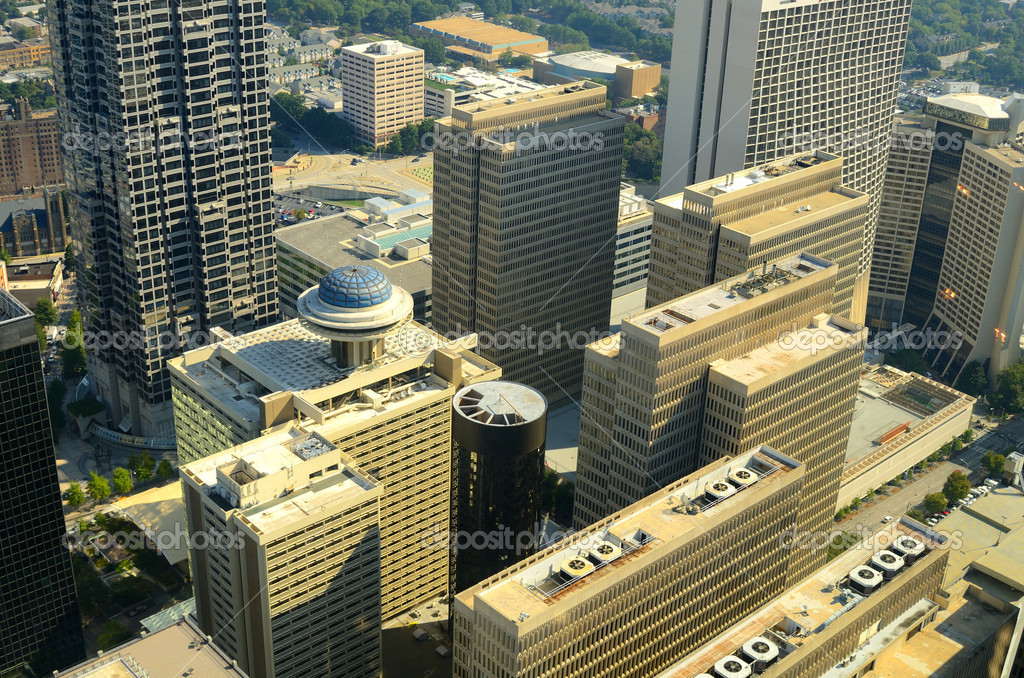 Aerial view of urban skyscrapers in downtown Atlanta, Georgia, USA. — Stock Photo #6862492