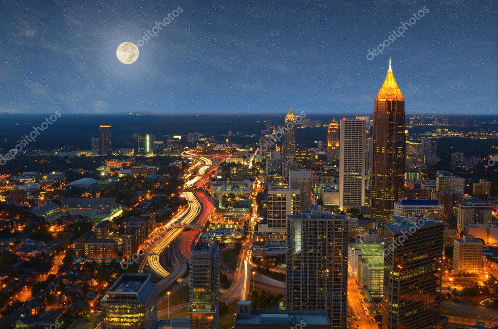 Interstate 85 winds through downtown Atlanta, Georgia, USA at night. — Photo #6945527