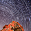 Abandoned Barn and Star Trails — Stock Photo
