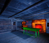 Light Painted Cabin Iinterior — Stock Photo