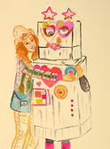 Country Girl and a Robot — Stock Photo