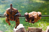 Whole grilled chickens — Stock Photo