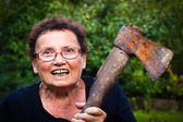 Crazy senior woman — Stock Photo