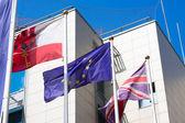 Gibraltar Great Britain European Union flags — Stock Photo