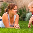 Mother with toddler serious moment — Stock Photo
