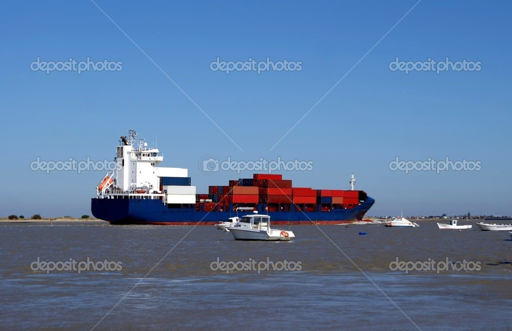 Cargo vessel with merchandise  Stock Photo #7801702