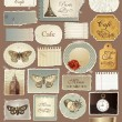Vector set of old papers and decorative elements - Stock Vector