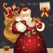 Vecteur: Christmas illustration with Santa Claus