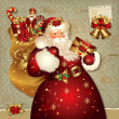 Vettoriale Stock : Christmas illustration with SantClaus