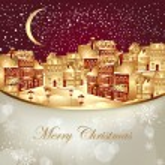 illustrazione vettoriale di Natale con la città d'oro — Vettoriale Stock