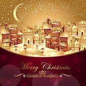 Christmas vector illustration with gold town — Stock Vector