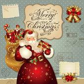 Ilustração de Natal com Papai Noel — Vetor de Stock
