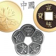 Vector set Chinese coins — Stock Vector