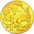 Stock Vector: Vector AustraliMoney, gold Dollar with image of kangaro