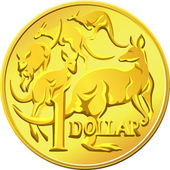 Vector Australian Money, gold Dollar with the image of a kangaro — Stock Vector