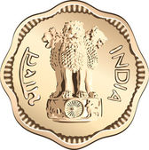 Vector Indian money coin with lions — Stock Vector