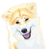 Vector sketch Akita Inu Japanese Dog smiles — Stock Vector