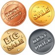 Vector Set of gold, silver, bronze coin, price tags and sale sig — Stock Vector #6923162