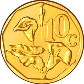 Vector money South African gold coin, ten cents a flower aloe — Stock Vector