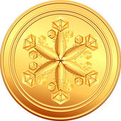 Vector gold coin with snowflake — Stock Vector