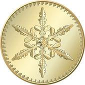 雪花矢量黄金硬币 — Stockvektor