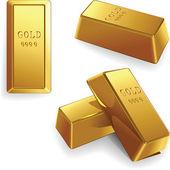Vector conjunto de lingotes de oro — Vector de stock