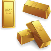 Vector set of gold bars — Vettoriale Stock