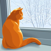 Vector, winter dreams red cat — Stok Vektör
