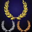 Vector set of golden laurel wreaths, silver, bronze — ストックベクタ