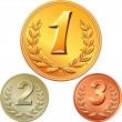 Royalty-Free Stock Vector Image: Vector set of gold, silver and bronze medals for first, second,