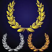 Vector set of golden laurel wreaths, silver, bronze — Stock Vector