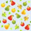 Vector seamless pattern with different fruits — Stock Vector