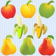 Vector fruits: apple, pear, banana of different colors — Stock Vector