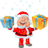 Vector a happy Santa Claus holding a gift — Vector de stock