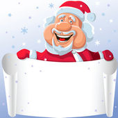 Vector funny cartoon Santa Claus with a paper scroll in his hand — ストックベクタ