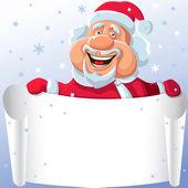 搞笑矢量卡通圣诞老人的纸卷轴在他的手中 — 图库矢量图片
