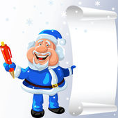 Vector Santa Claus with a pen and a scroll in his hands — Vector de stock