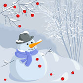 Vector Christmas winter snowman with a landscape — Stock Vector