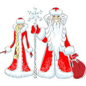 Vector a happy Father Frost and Snow Maiden — Cтоковый вектор