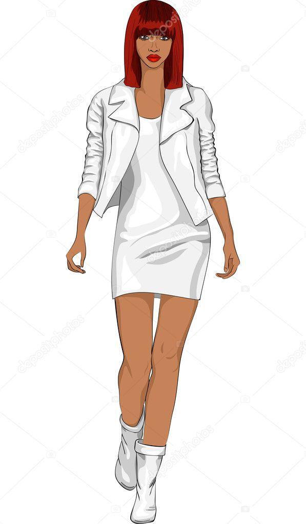 Рисунок Девушки В Полный Рост В Одежде