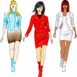 Stockvector : Vector set of fashion girls in leather suits