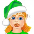 Vector portrait of a Christmas elf closeup — Stock Vector