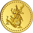 Stock Vector: Vector money gold coin with image of Shiva
