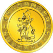 Vector money gold coin with the image of God and the Mayan hiero - Stock Vector