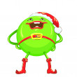 Vector cartoon funny round smiling bright green-colored monster — Stock Vector