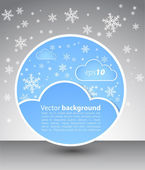 Winter round blank with clouds and snow — Stock Vector