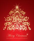 Zlatý vánoční strom — Stock vektor