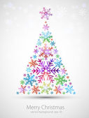 Modern New Year tree made with snow with glowing lights — Stock Vector