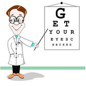 Optician eye test cartoon — Vettoriale Stock