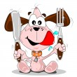 Cartoon puppy dog with knife & fork — Vector de stock